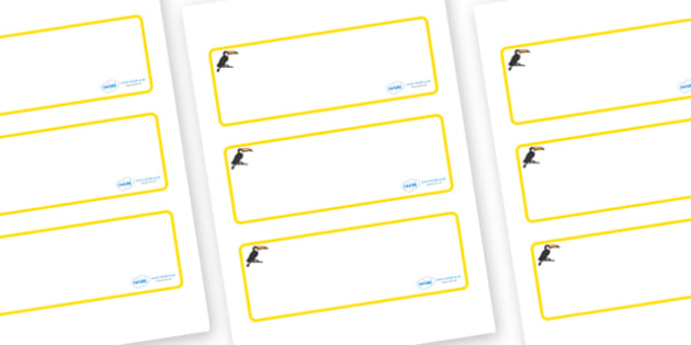 Toucan Themed Editable Drawer-Peg-Name Labels (Blank) - Themed Classroom Label Templates, Resource Labels, Name Labels, Editable Labels, Drawer Labels, Coat Peg Labels, Peg Label, KS1 Labels, Foundation Labels, Foundation Stage Labels, Teaching Label