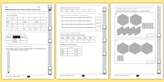 Year 4 Maths Assessment: Number and Place Value Term 3 - year 4, maths, assessment, number, place value