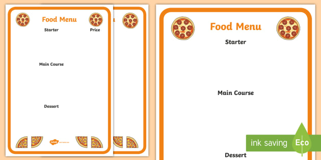 Pizza Menu Writing Frame - pizza menu, writing frame, menu, page borders, writing template, wrinting aid, list, fill in, cuisine, food and drink, roleplay, restaurant