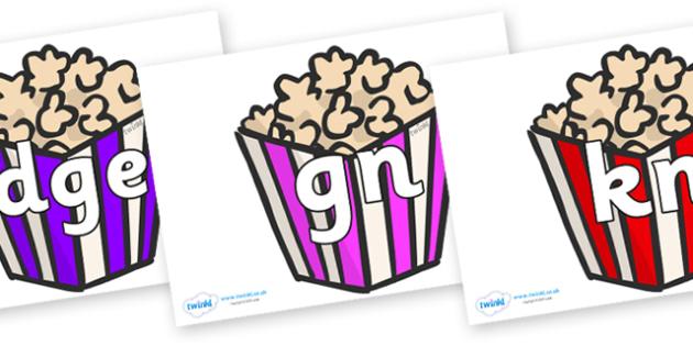 Silent Letters on Popcorn - Silent Letters, silent letter, letter blend, consonant, consonants, digraph, trigraph, A-Z letters, literacy, alphabet, letters, alternative sounds