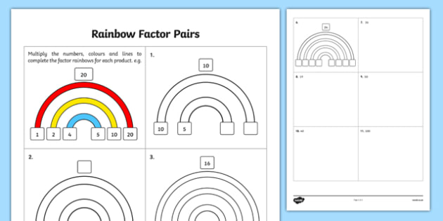 Rainbow Factor Pairs - factors, multiples, prime numbers, rainbow, multiplication, division