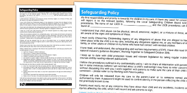 Safeguarding Policy for Childminders - childminders, policy pre school