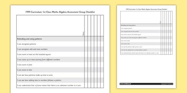 1999 Curriculum 1st Class Maths Algebra Assessment Targets Group Checklist - roi, irish, republic of ireland