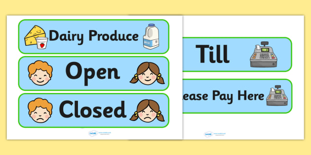 Supermarket Signs - Supermarket Role Play, supermarket resources, food, labels, till, customer, checkout, basket, food aisle, role play, display, poster