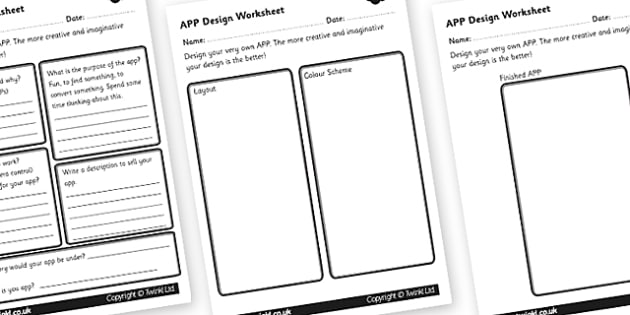 App Design Worksheet - app design, worksheet, app worksheet, smart phone worksheet, design a smart phone app, deisgn worksheet, worksheet about app design