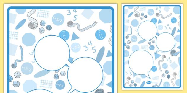 Maths Themed Observation Speech Bubbles - eyfs, recording, evidence