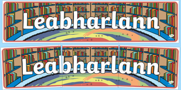 Leabharlann Library Display Banner - Irish