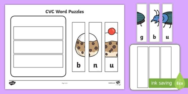 Workstation Pack:  CVC (u) Words Puzzles Activity Pack