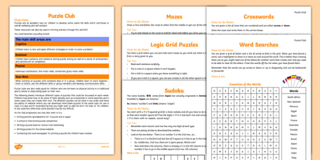 Puzzle Club Guidance and Plans for Teachers