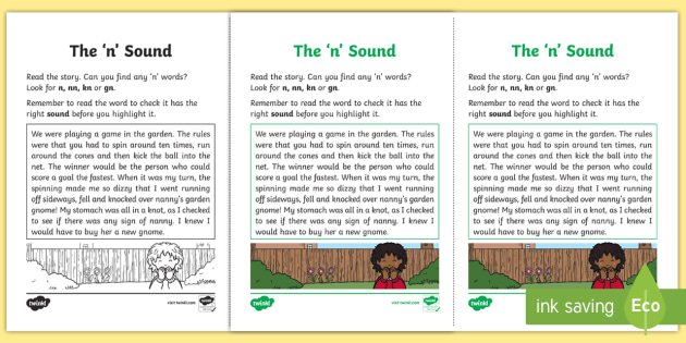 Northern Ireland Linguistic Phonics Stage 5 and 6 Phase 3b, 'n' Sound Activity Sheet - Linguistic Phonics, Phase 3b, Northern Ireland, 'n' sound, sound search, text,Worksheet, Keyword