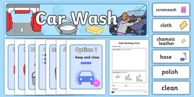 Car Wash Role Play Pack - car wash, car, cars, wash, clean, role play, play, pack, sponge, polish, bucket, clean cars, screen wash, hose, nozzle, pressure, washer, air pump, brush