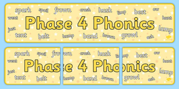 Phase 4 Phonics Display Banner - phase 4, phonics, display banner, display, banner