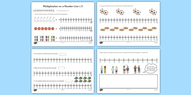 Multiplication on a Number Line x2 - multiplication, number line, x2,  number, line