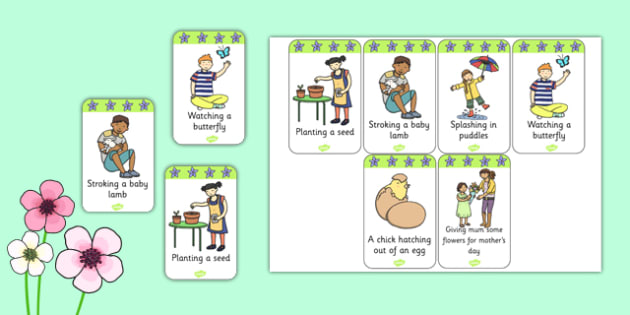 EYFS Look And Act Spring Cards - eyfs, look, act, spring, cards