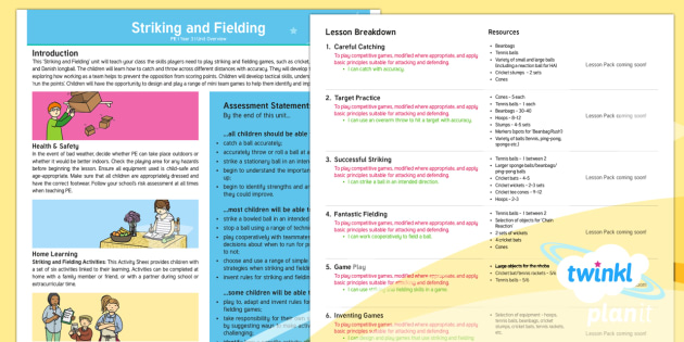 PE: Striking and Fielding Year 3 Unit Overview