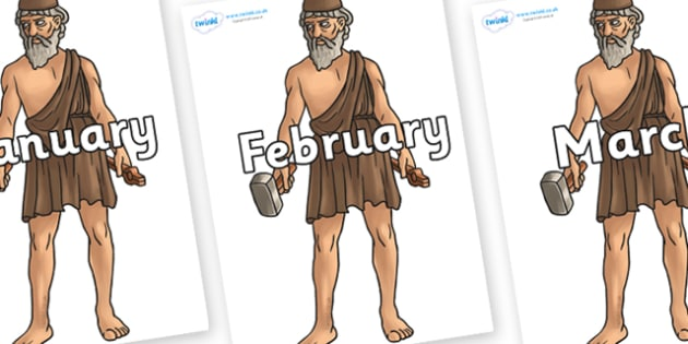 Months of the Year on Hephaestus - Months of the Year, Months poster, Months display, display, poster, frieze, Months, month, January, February, March, April, May, June, July, August, September
