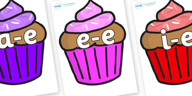 Split Digraphs on Cupcakes - Modifying E, letters, modify, Phase 5, Phase five, alternative spellings for phonemes, DfES letters and Sounds