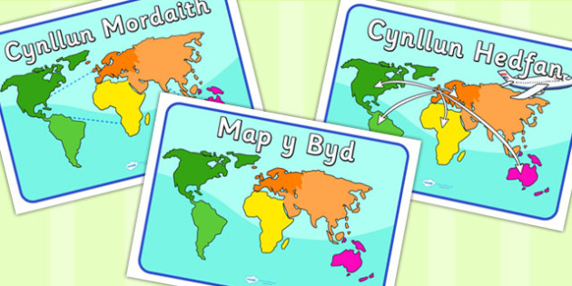World Map Posters Welsh Translation - roleplay, EAL, languages
