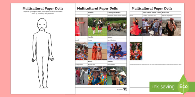 Multicultural Paper Dolls Activity Sheet - Canadian Multiculturalism Day Resources
