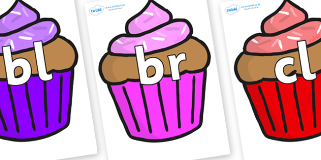 Initial Letter Blends on Cupcakes - Initial Letters, initial letter, letter blend, letter blends, consonant, consonants, digraph, trigraph, literacy, alphabet, letters, foundation stage literacy