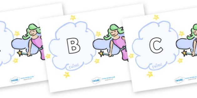 A-Z Alphabet on Fairies - A-Z, A4, display, Alphabet frieze, Display letters, Letter posters, A-Z letters, Alphabet flashcards