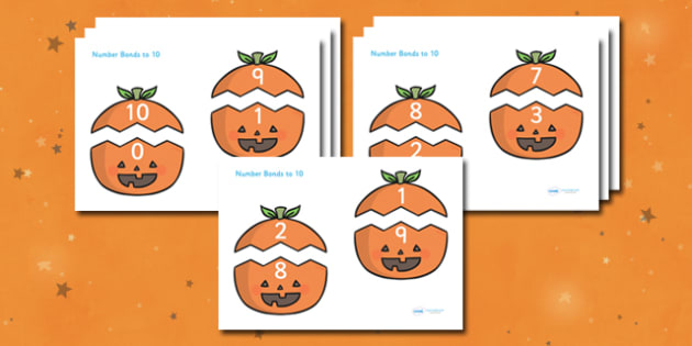 Number Bonds to 10 (on Pumpkins) - Number Bonds, Matching Cards, Number Bonds to 10, Halloween, pumpkin , witch, bat, scary, black cat, mummy, grave stone, cauldron, broomstick, haunted house, potion, Hallowe'en
