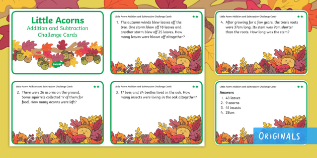 Little Acorns Addition and Subtraction Differentiated Maths Challenge Cards - Add, Subtract, total, find, solve