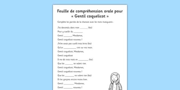 Oral Comprehension Gentil Coquelicot French - french, oral, comprehension, gentil coquelicot