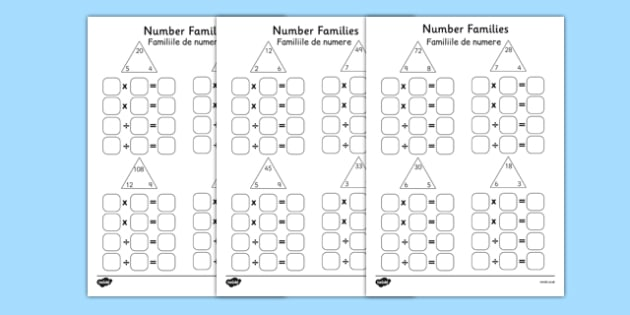 Number Families Multiplication and Division Activity Sheet Romanian Translation - romanian, number families, multiplication, division, activity, sheet, worksheet