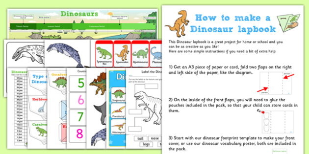 Dinosaur Lapbook Creation Pack - dinosaur, lapbook pack, creation, lapbooks