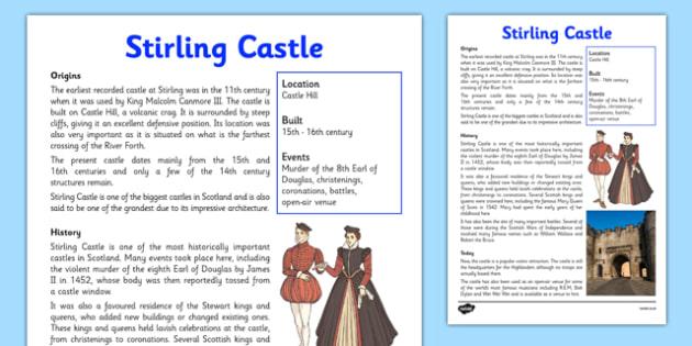 Stirling Castle Information Sheet - First Level, Social Studies, Scottish history, Scottish Castles