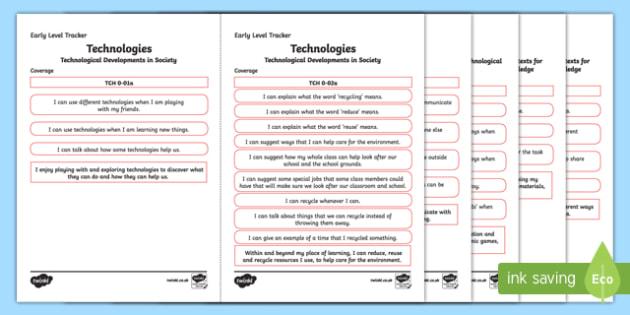 CfE Technologies Early Level Child Friendly Tracking-Scottish
