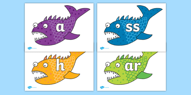 Phoneme Set on Fish to Support Teaching on Sharing a Shell - Phoneme set, phonemes, phoneme, Letters and Sounds, DfES, display, Phase 1, Phase 2, Phase 3, Phase 5, Foundation, Literacy
