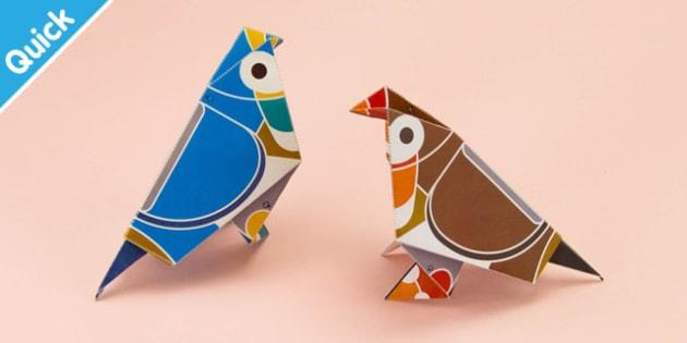 Enkl Origami Bird Printable - Enkl, arts, crafts, activity, adult, home, decor, designer, designer, decoration, interior, project, printable, cute, simple, paper, models, 3D, shape, colour, geek, clean,origami,bird