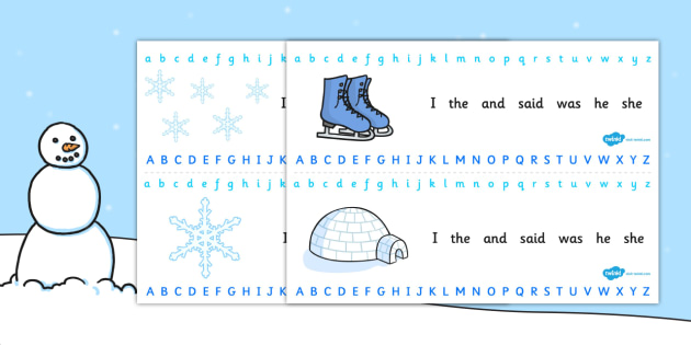 Winter Alphabet Strips - alphabet, letters, writing aid, winter, winter alphabet, snowflakes, winter strips, winter writing aid, writing area, spelling aid, spelling