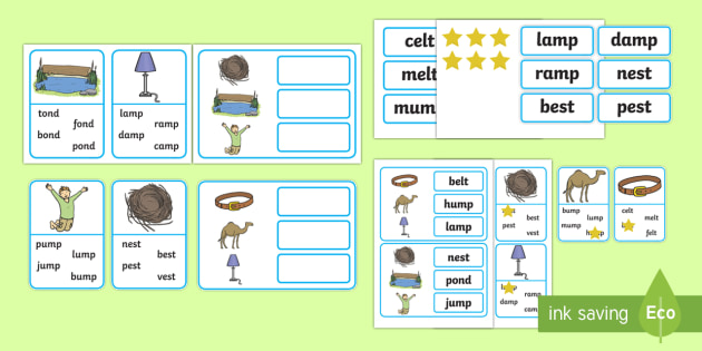 Workstation Pack:  CVCC Word Matching Activity Pack