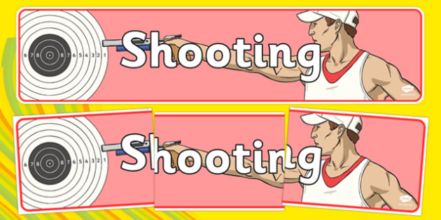 The Olympics Shooting Display Banner - Shooting, Olympics, Olympic Games, sports, Olympic, London, 2012, display, banner, poster, sign, activity, Olympic torch, events, flag, countries, medal, Olympic Rings, mascots, flame, compete