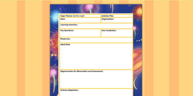 Bonfire Night Themed Adult Led Focus Planning Template - autumn