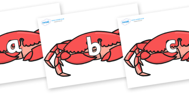 Phase 2 Phonemes on Crabs - Phonemes, phoneme, Phase 2, Phase two, Foundation, Literacy, Letters and Sounds, DfES, display