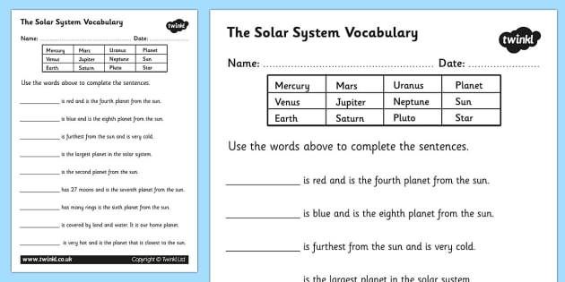 Solar System Vocabulary Worksheet - solar system, solar system worksheet, solar system vocabulary, planet names, solar system complete the sentences, ks2