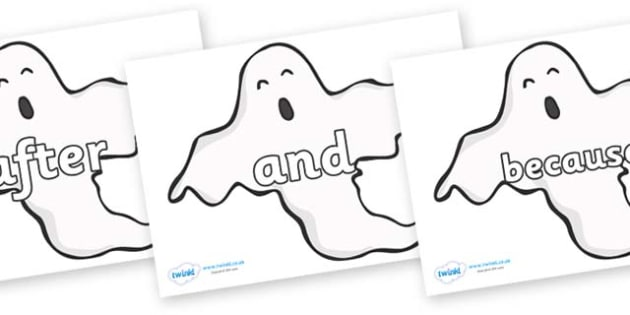 Connectives on Ghosts (Plain) - Connectives, VCOP, connective resources, connectives display words, connective displays