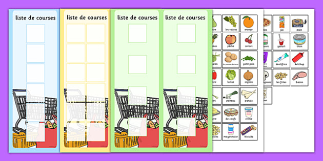 Shopping Lists and Food Cards French - french, shopping list, shopping, shop, list, food, cards