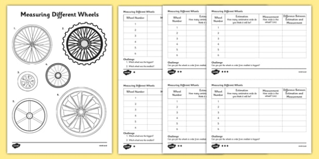 KS1 Maths Wheels Measuring Activity Sheet, worksheet