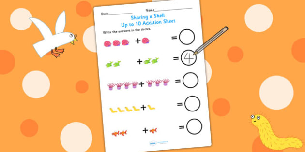 Up to 10 Addition Sheet to Support Teaching on Sharing a Shell - addition, story book