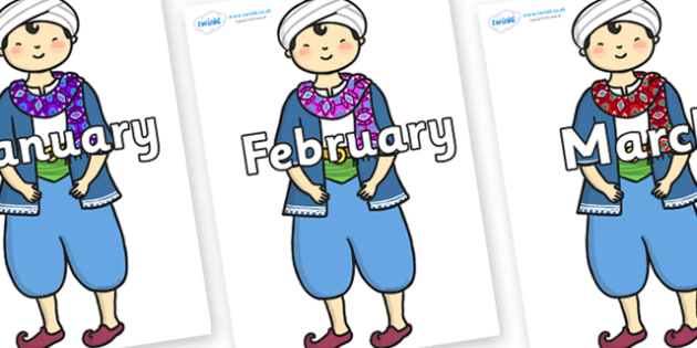 Months of the Year on Rich Aladdin - Months of the Year, Months poster, Months display, display, poster, frieze, Months, month, January, February, March, April, May, June, July, August, September
