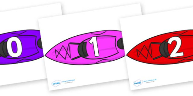 Numbers 0-100 on Canoes - 0-100, foundation stage numeracy, Number recognition, Number flashcards, counting, number frieze, Display numbers, number posters