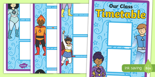 Superhero Themed 12 Box Vertical Visual Timetable - superhero, 12, box, vertical, visual, timetable