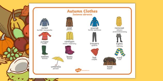 Autumn Clothes Word Mat Polish Translation-Polish-translation
