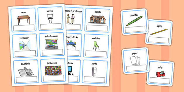 EAL Everyday Objects at School Editable Cards with English Portuguese -