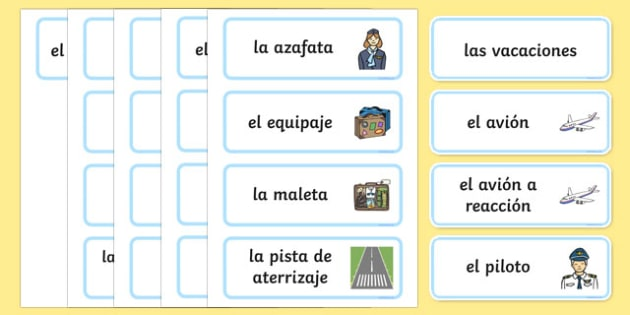 Holiday Travel Topic Words Spanish - spanish, Holidays, word card, flashcards, labels, holiday, travel, role play, display poster, poster, sign, holidays, agent, booking, plane, flight, hotel